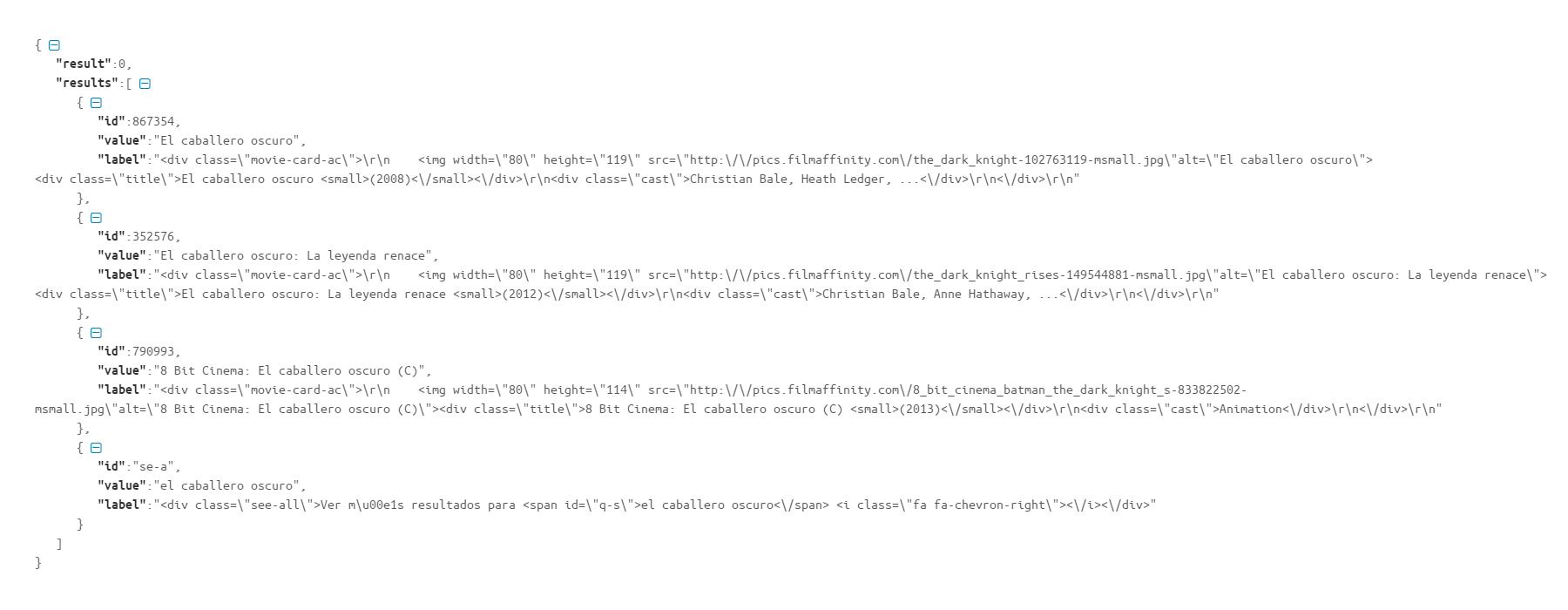 Código de un fichero JSON